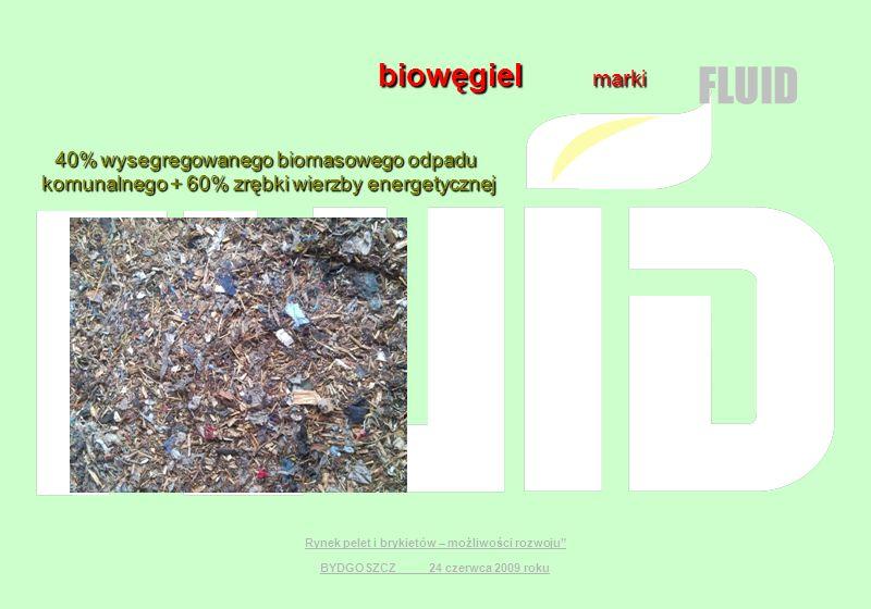 Rynek pelet i brykietów – możliwości rozwoju BYDGOSZCZ 24 czerwca 2009 roku biowęgiel marki biowęgiel marki 40% wysegregowanego biomasowego odpadu 40%