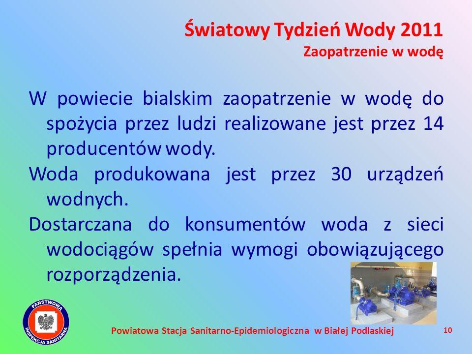 Powiatowa Stacja Sanitarno-Epidemiologiczna w Białej Podlaskiej W powiecie bialskim zaopatrzenie w wodę do spożycia przez ludzi realizowane jest przez