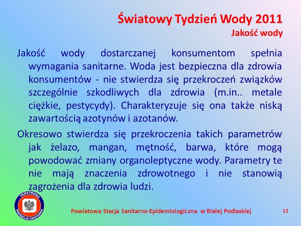 Powiatowa Stacja Sanitarno-Epidemiologiczna w Białej Podlaskiej Jakość wody dostarczanej konsumentom spełnia wymagania sanitarne. Woda jest bezpieczna
