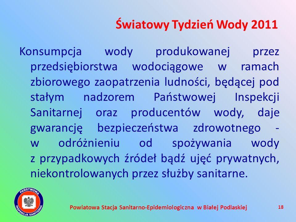 Powiatowa Stacja Sanitarno-Epidemiologiczna w Białej Podlaskiej Konsumpcja wody produkowanej przez przedsiębiorstwa wodociągowe w ramach zbiorowego za