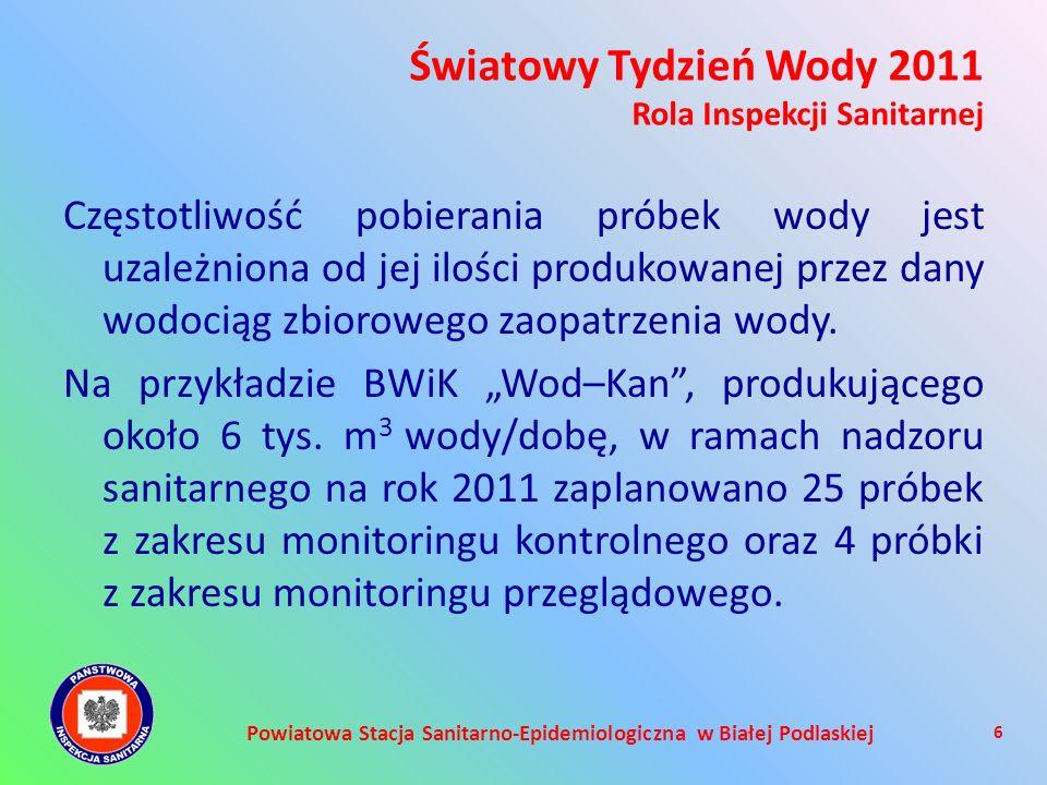 Powiatowa Stacja Sanitarno-Epidemiologiczna w Białej Podlaskiej Częstotliwość pobierania próbek wody jest uzależniona od jej ilości produkowanej przez