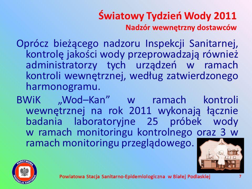 Powiatowa Stacja Sanitarno-Epidemiologiczna w Białej Podlaskiej Oprócz bieżącego nadzoru Inspekcji Sanitarnej, kontrolę jakości wody przeprowadzają ró