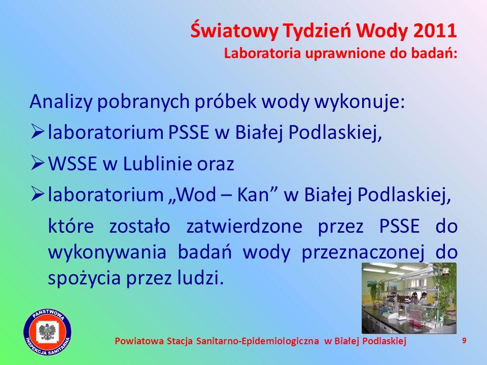 Powiatowa Stacja Sanitarno-Epidemiologiczna w Białej Podlaskiej Analizy pobranych próbek wody wykonuje: laboratorium PSSE w Białej Podlaskiej, WSSE w