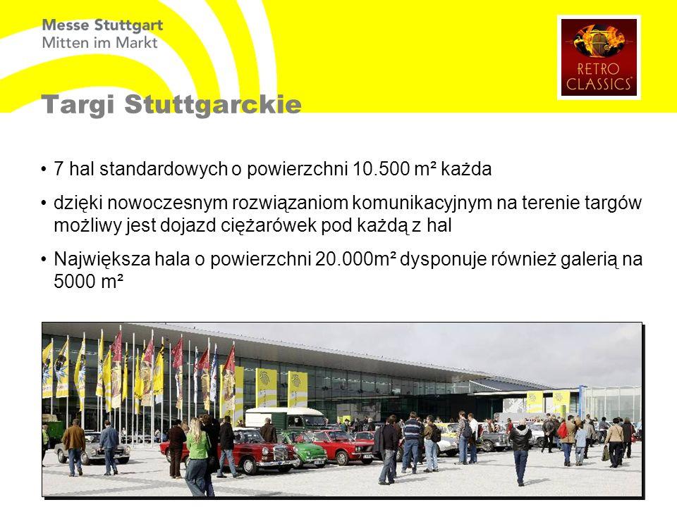 Targi Stuttgarckie 7 hal standardowych o powierzchni 10.500 m² każda dzięki nowoczesnym rozwiązaniom komunikacyjnym na terenie targów możliwy jest dojazd ciężarówek pod każdą z hal Największa hala o powierzchni 20.000m² dysponuje również galerią na 5000 m²