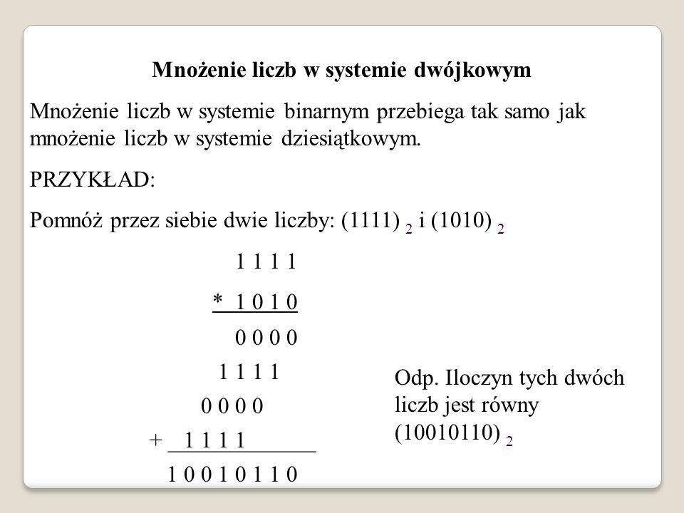 Mnożenie liczb w systemie dwójkowym Mnożenie liczb w systemie binarnym przebiega tak samo jak mnożenie liczb w systemie dziesiątkowym. PRZYKŁAD: Pomnó