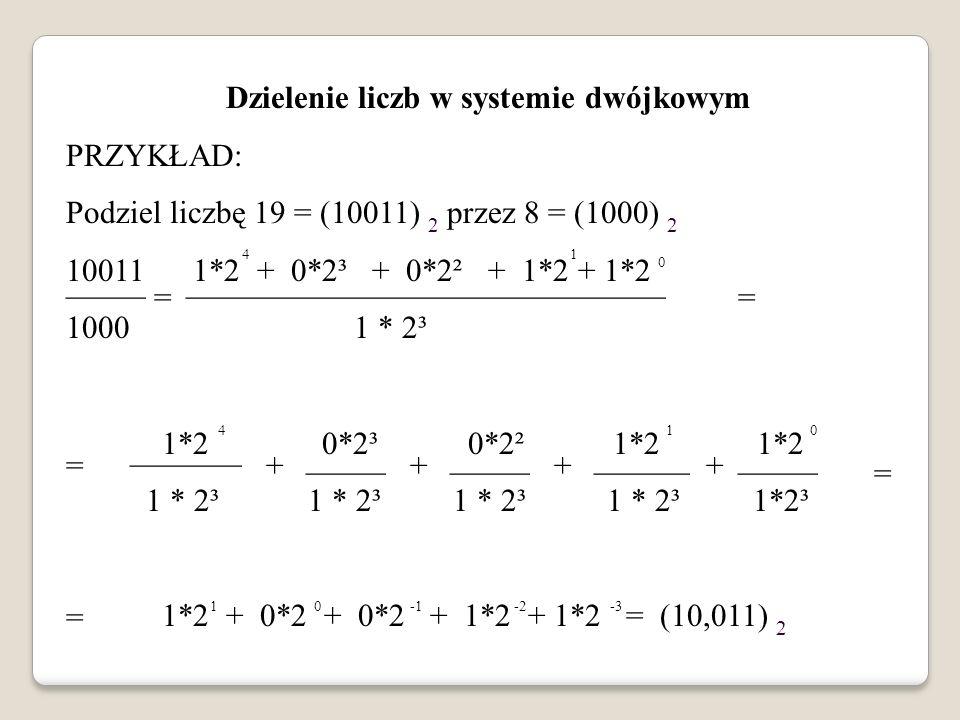 Dzielenie liczb w systemie dwójkowym PRZYKŁAD: Podziel liczbę 19 = (10011) 2 przez 8 = (1000) 2 10011 1*2 + 0*2³ + 0*2² + 1*2 + 1*2 1000 1 * 2³ 1*2 0*
