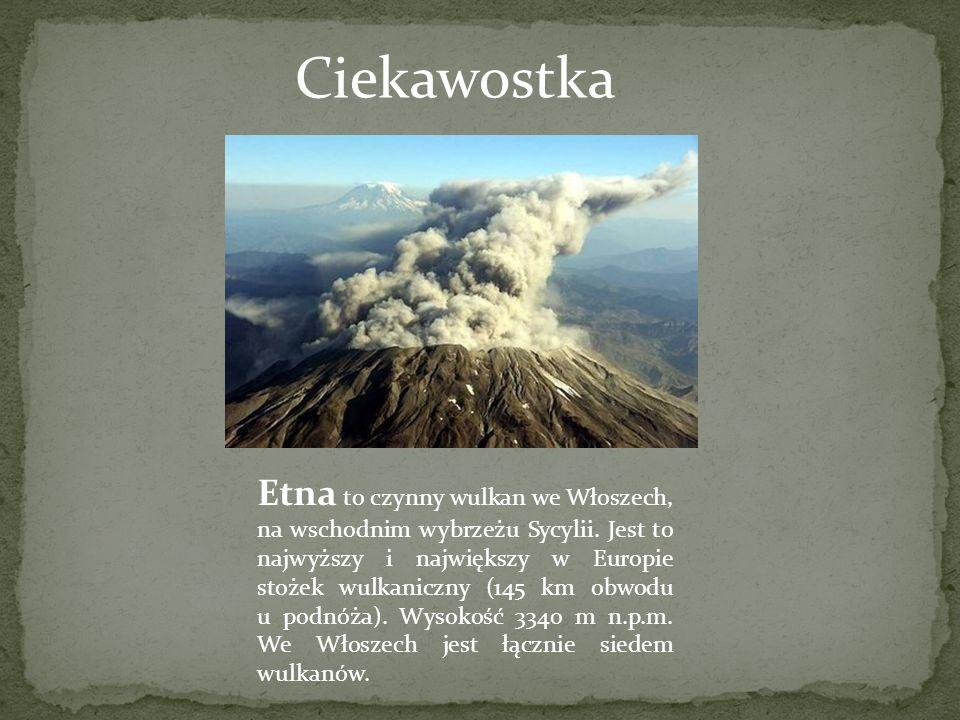 Etna to czynny wulkan we Włoszech, na wschodnim wybrzeżu Sycylii. Jest to najwyższy i największy w Europie stożek wulkaniczny (145 km obwodu u podnóża