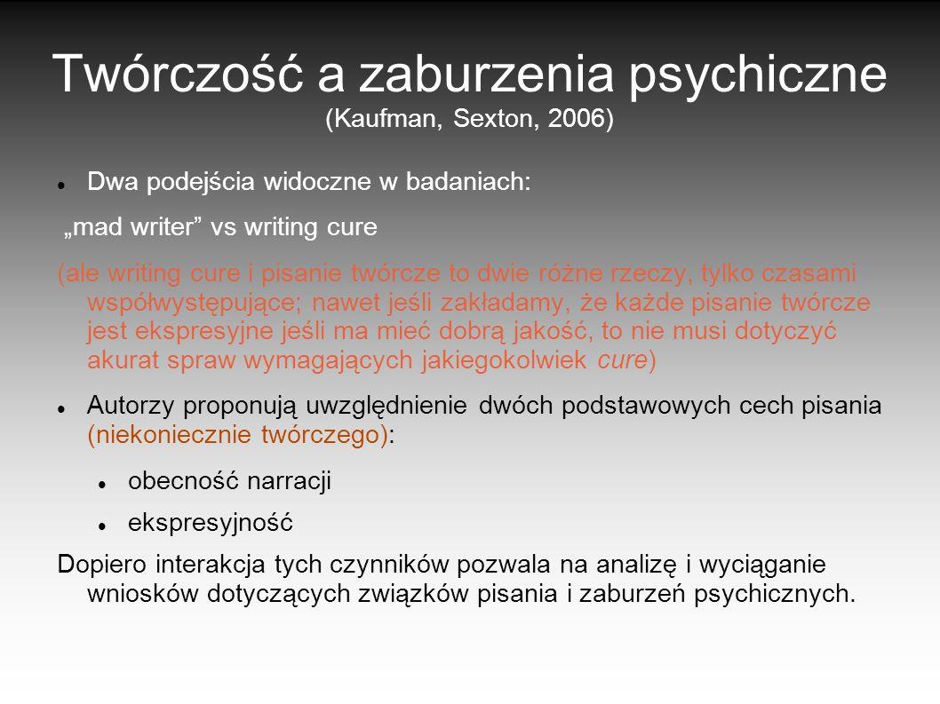 Twórczość a zaburzenia psychiczne (Kaufman, Sexton, 2006) Dwa podejścia widoczne w badaniach: mad writer vs writing cure (ale writing cure i pisanie t