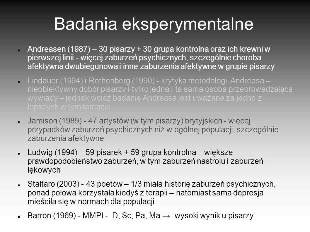 Badania eksperymentalne Andreasen (1987) – 30 pisarzy + 30 grupa kontrolna oraz ich krewni w pierwszej linii - więcej zaburzeń psychicznych, szczególn