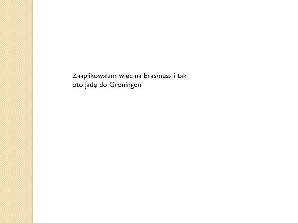 Zaaplikowałam więc na Erasmusa i tak oto jadę do Groningen