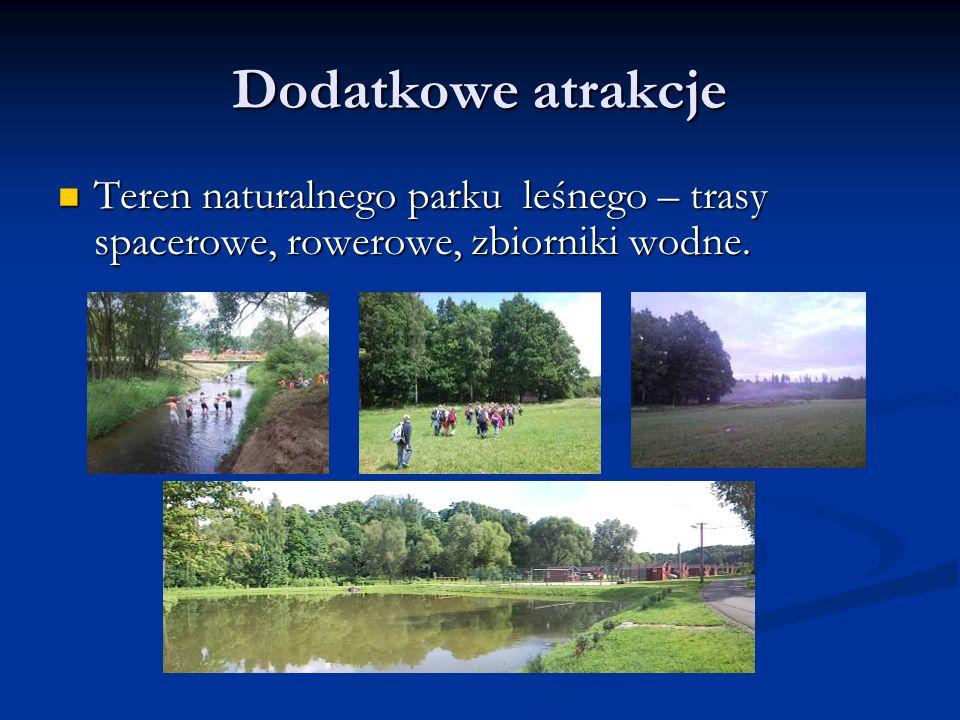 Dodatkowe atrakcje Teren naturalnego parku leśnego – trasy spacerowe, rowerowe, zbiorniki wodne.