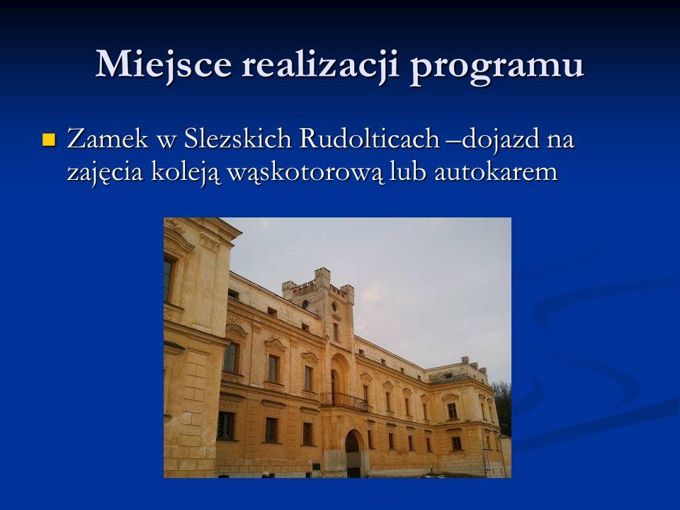 Miejsce realizacji programu Zamek w Slezskich Rudolticach –dojazd na zajęcia koleją wąskotorową lub autokarem Zamek w Slezskich Rudolticach –dojazd na zajęcia koleją wąskotorową lub autokarem