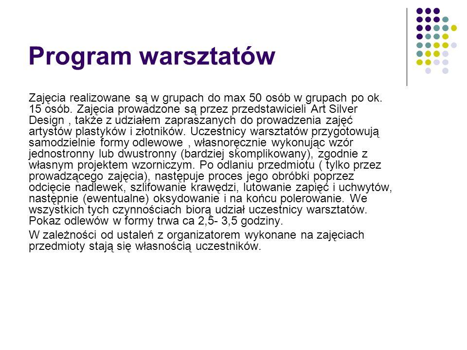 Program warsztatów Zajęcia realizowane są w grupach do max 50 osób w grupach po ok.