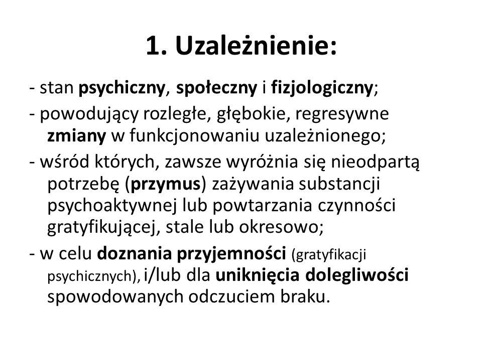 1. Uzależnienie: - stan psychiczny, społeczny i fizjologiczny; - powodujący rozległe, głębokie, regresywne zmiany w funkcjonowaniu uzależnionego; - wś