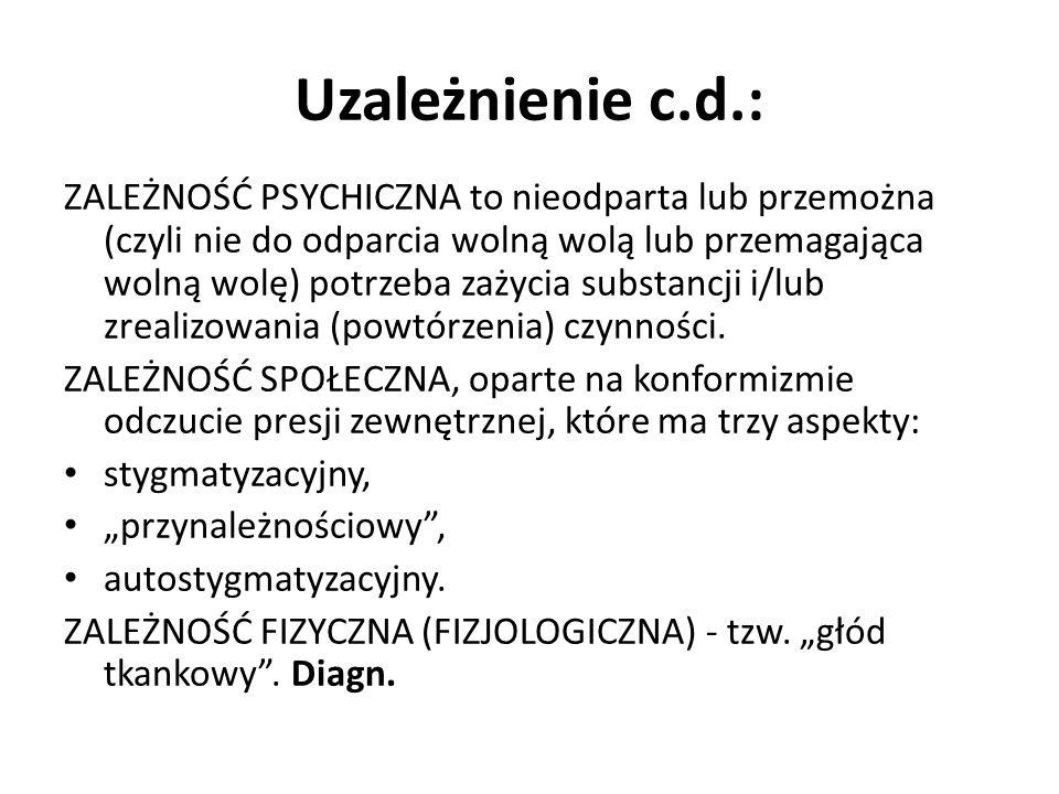 Uzależnienie c.d.: ZALEŻNOŚĆ PSYCHICZNA to nieodparta lub przemożna (czyli nie do odparcia wolną wolą lub przemagająca wolną wolę) potrzeba zażycia su