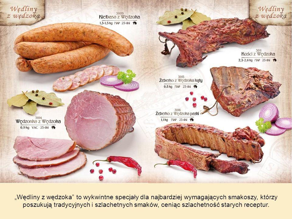 Wędliny swojskie tradycyjne, wędzone na żywym ogniu, stworzone z najlepszych gatunków mięs, a specjalnie selekcjonowane zioła i przyprawy nadają im niepowtarzalny smak i aromat.