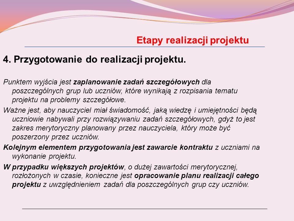 Etapy realizacji projektu 4. Przygotowanie do realizacji projektu. Punktem wyjścia jest zaplanowanie zadań szczegółowych dla poszczególnych grup lub u