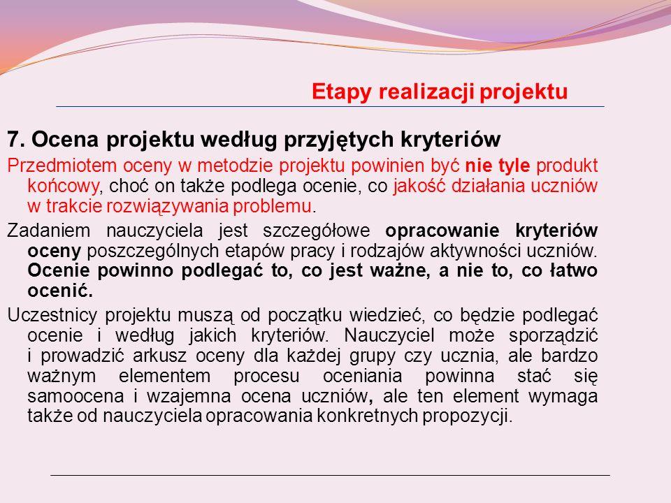 Etapy realizacji projektu 7. Ocena projektu według przyjętych kryteriów Przedmiotem oceny w metodzie projektu powinien być nie tyle produkt końcowy, c