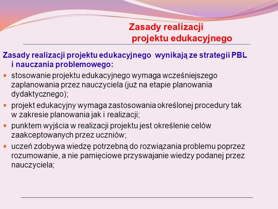 Zasady realizacji projektu edukacyjnego Zasady realizacji projektu edukacyjnego wynikają ze strategii PBL i nauczania problemowego: stosowanie projekt