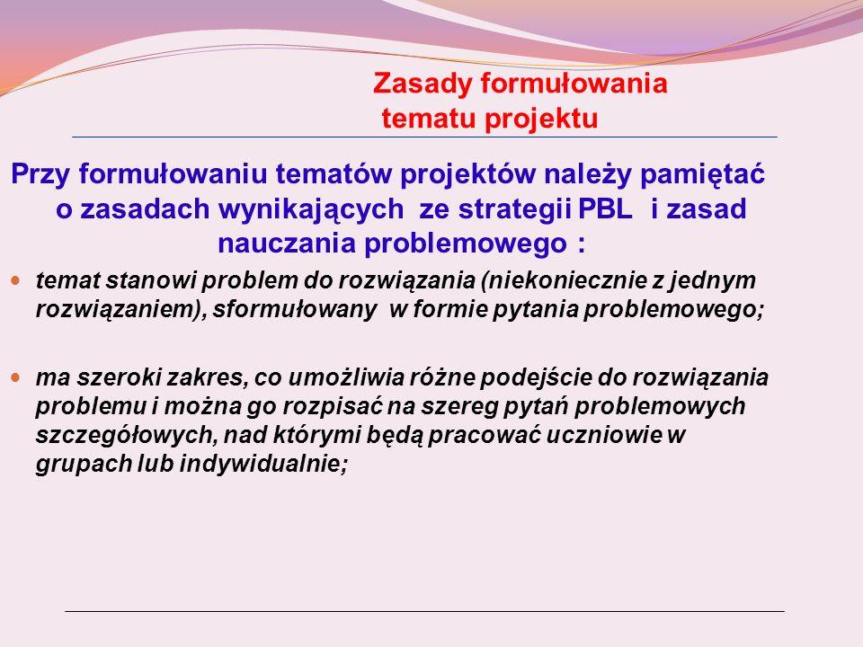 Zasady formułowania tematu projektu Przy formułowaniu tematów projektów należy pamiętać o zasadach wynikających ze strategii PBL i zasad nauczania pro