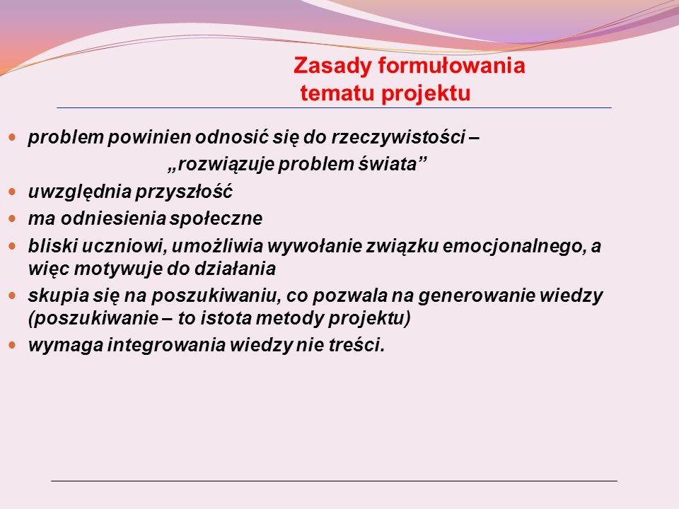 Etapy realizacji projektu 1.Przygotowanie uczniów do pracy metodą projektu.