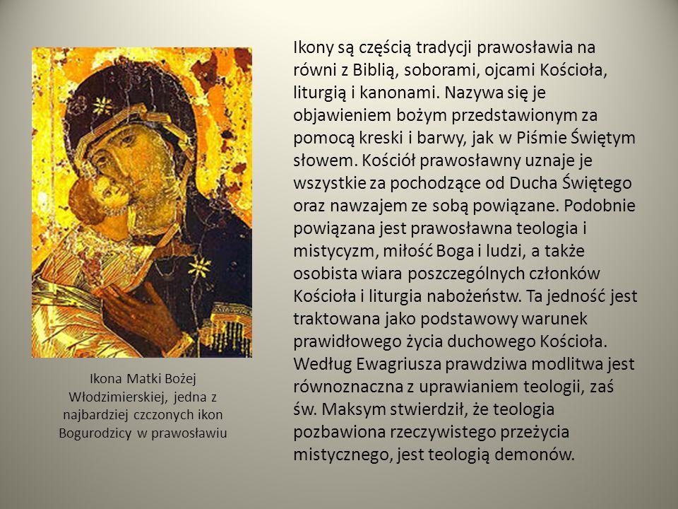 Ikona Matki Bożej Włodzimierskiej, jedna z najbardziej czczonych ikon Bogurodzicy w prawosławiu Ikony są częścią tradycji prawosławia na równi z Bibli