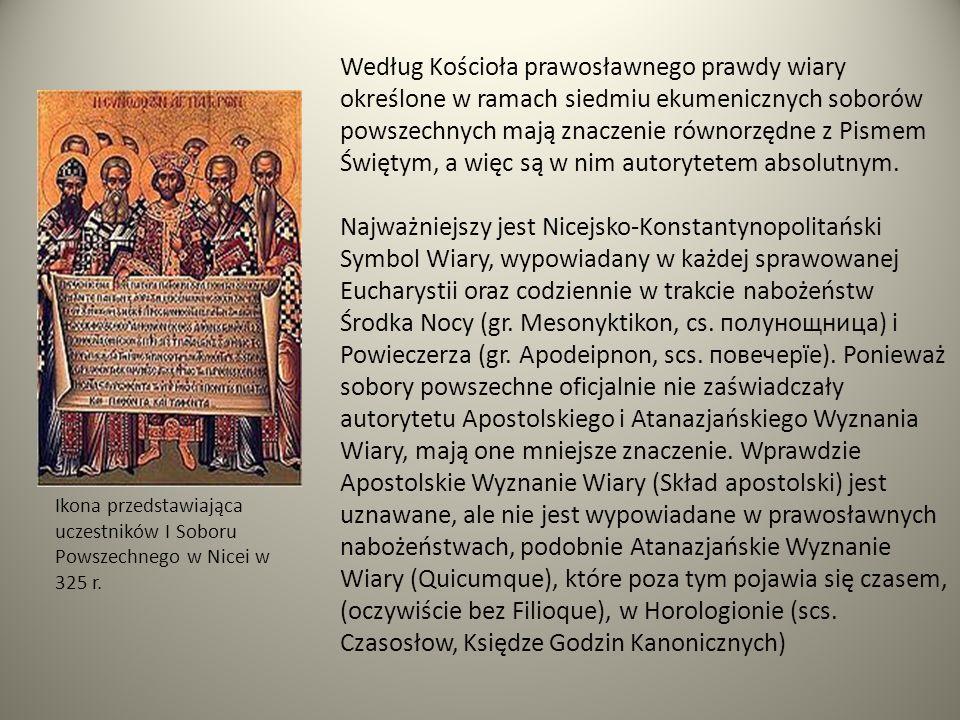 Ikona przedstawiająca uczestników I Soboru Powszechnego w Nicei w 325 r. Według Kościoła prawosławnego prawdy wiary określone w ramach siedmiu ekumeni