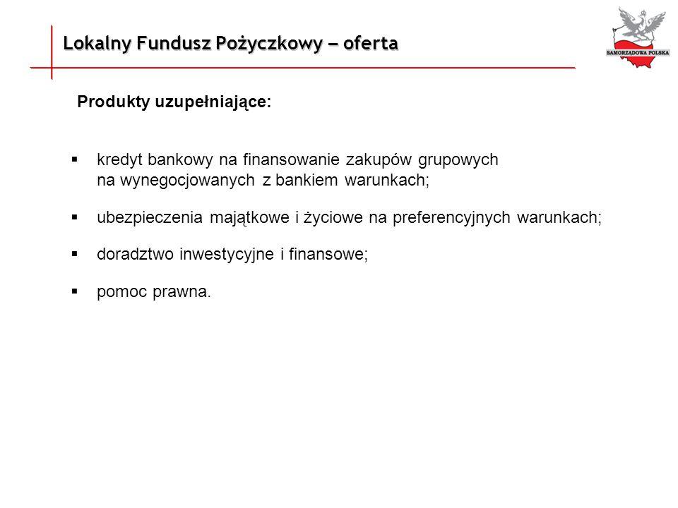 Lokalny Fundusz Pożyczkowy – oferta Produkty uzupełniające: kredyt bankowy na finansowanie zakupów grupowych na wynegocjowanych z bankiem warunkach; u