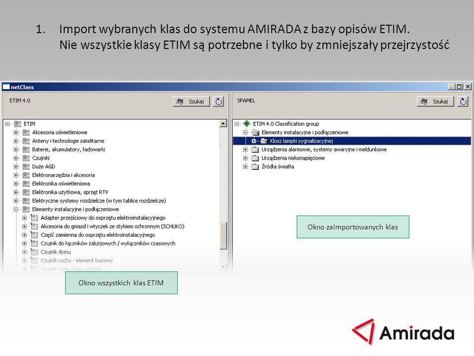 1.Import wybranych klas do systemu AMIRADA z bazy opisów ETIM. Nie wszystkie klasy ETIM są potrzebne i tylko by zmniejszały przejrzystość Okno wszystk