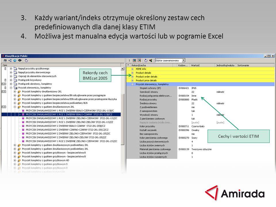 3.Każdy wariant/indeks otrzymuje określony zestaw cech predefiniowanych dla danej klasy ETIM 4.Możliwa jest manualna edycja wartości lub w pogramie Ex