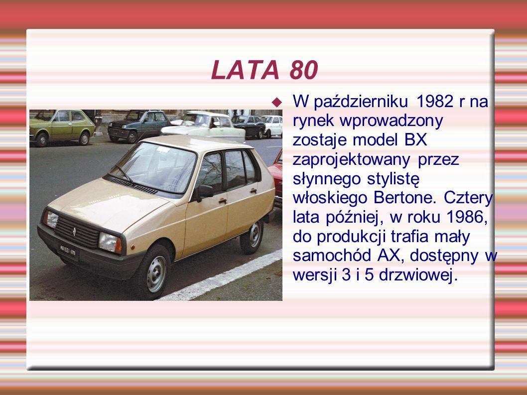 LATA 80 W październiku 1982 r na rynek wprowadzony zostaje model BX zaprojektowany przez słynnego stylistę włoskiego Bertone. Cztery lata później, w r