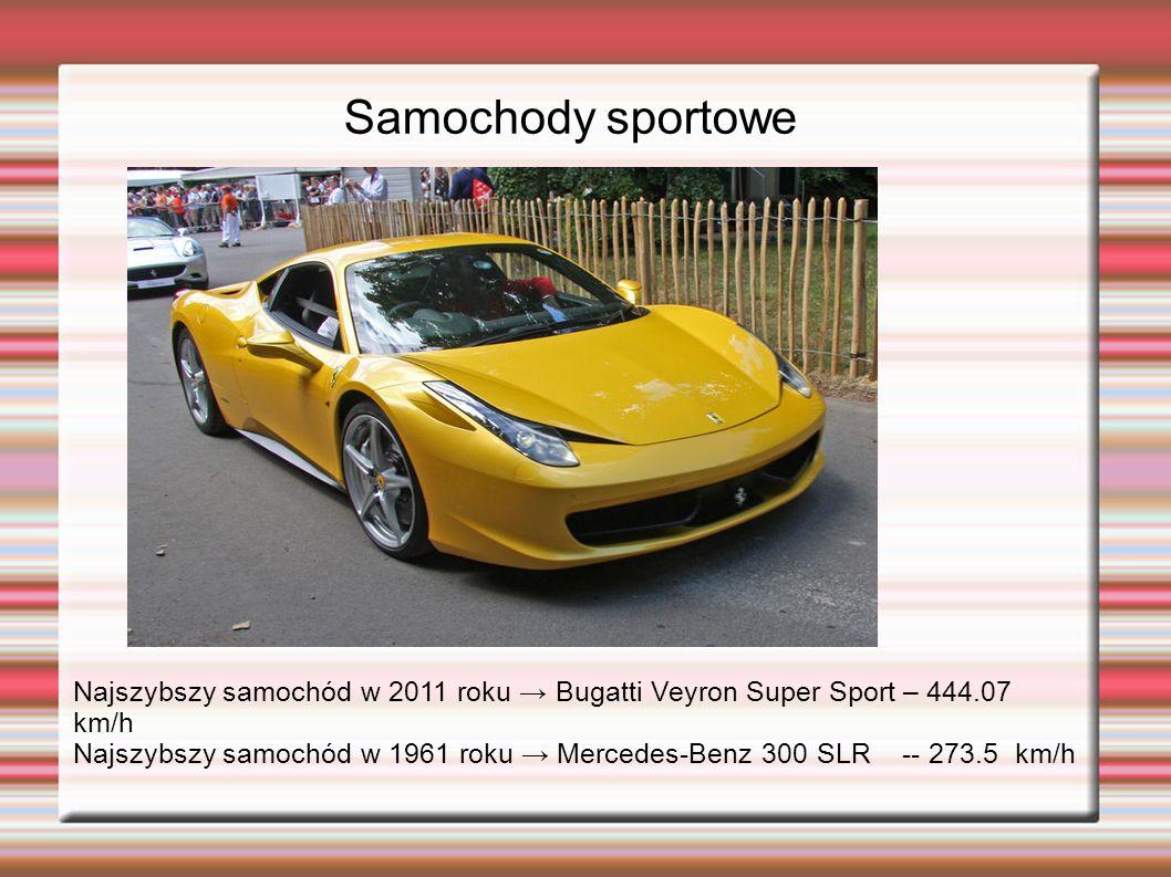 Samochody sportowe Najszybszy samochód w 2011 roku Bugatti Veyron Super Sport – 444.07 km/h Najszybszy samochód w 1961 roku Mercedes-Benz 300 SLR -- 273.5 km/h