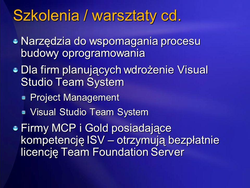 Szkolenia / warsztaty cd. Narzędzia do wspomagania procesu budowy oprogramowania Dla firm planujących wdrożenie Visual Studio Team System Project Mana