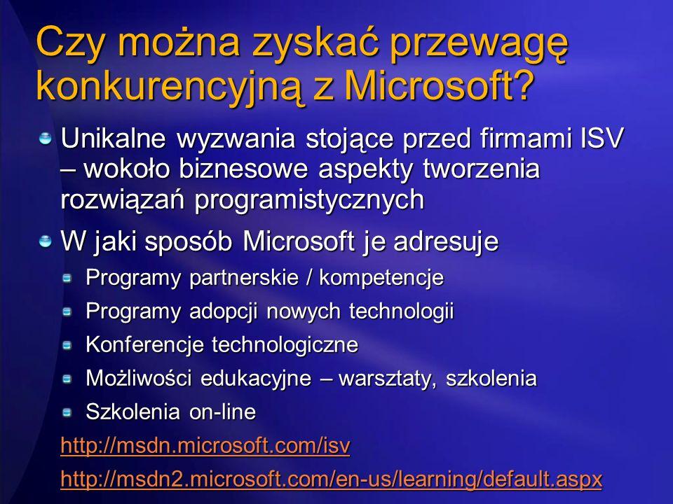Czy można zyskać przewagę konkurencyjną z Microsoft? Unikalne wyzwania stojące przed firmami ISV – wokoło biznesowe aspekty tworzenia rozwiązań progra