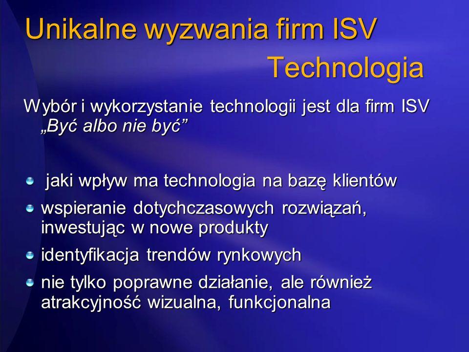 Unikalne wyzwania firm ISV Wybór i wykorzystanie technologii jest dla firm ISV Być albo nie być jaki wpływ ma technologia na bazę klientów jaki wpływ