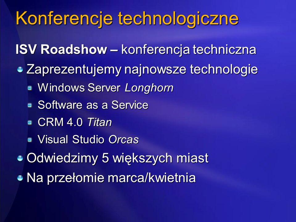 Konferencje technologiczne ISV Roadshow – konferencja techniczna Zaprezentujemy najnowsze technologie Windows Server Longhorn Software as a Service CR