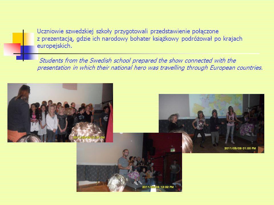 Uczniowie szwedzkiej szkoły przygotowali przedstawienie połączone z prezentacją, gdzie ich narodowy bohater książkowy podróżował po krajach europejskich.