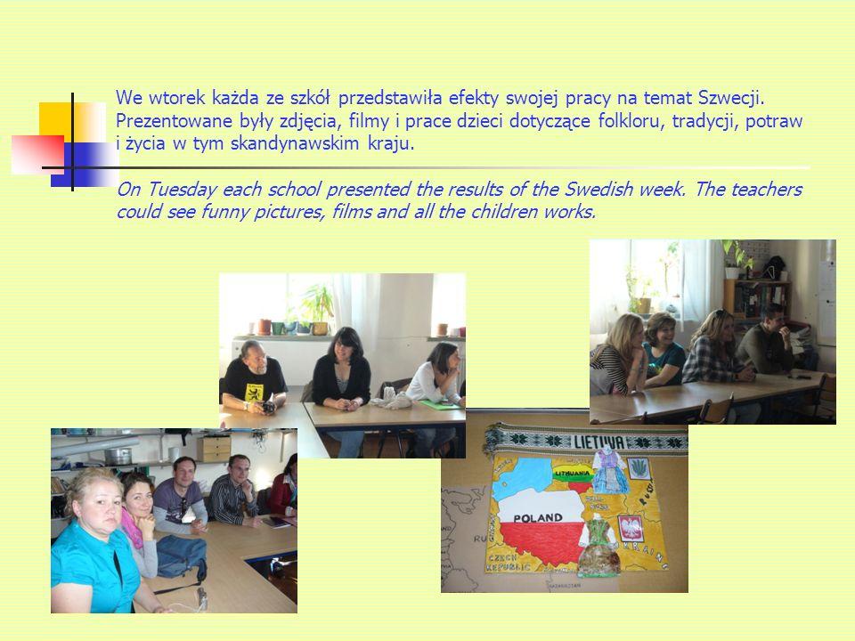 We wtorek każda ze szkół przedstawiła efekty swojej pracy na temat Szwecji.