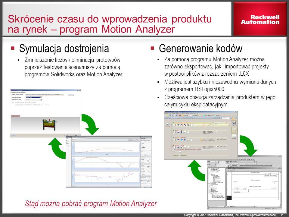 Copyright © 2012 Rockwell Automation, Inc. Wszelkie prawa zastrzeżone. Skrócenie czasu do wprowadzenia produktu na rynek – program Motion Analyzer Sym