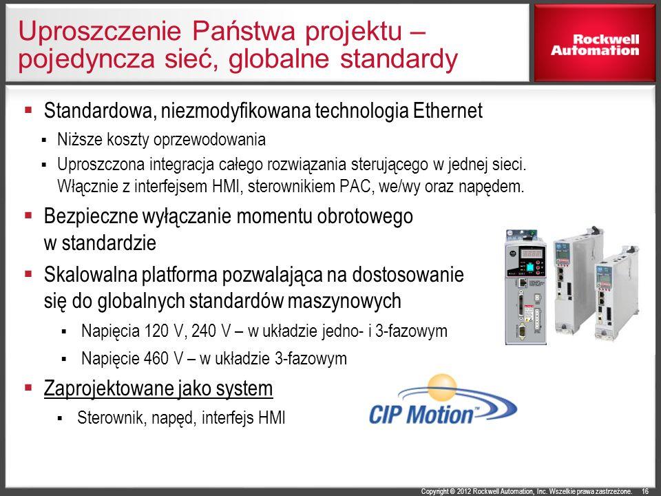Copyright © 2012 Rockwell Automation, Inc. Wszelkie prawa zastrzeżone. Uproszczenie Państwa projektu – pojedyncza sieć, globalne standardy Standardowa