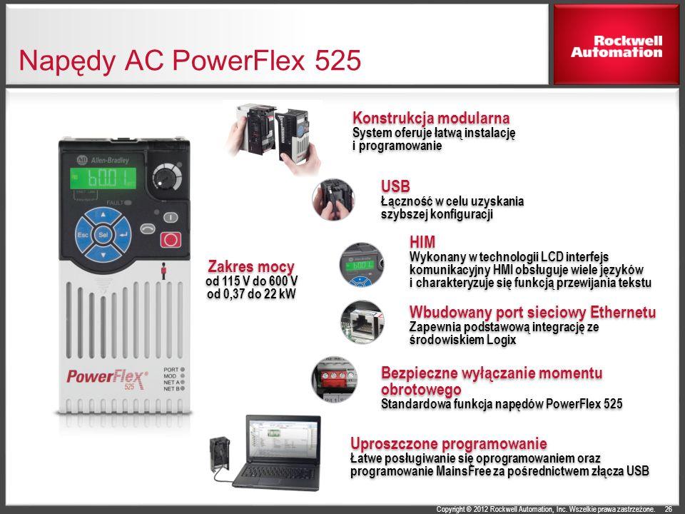 Copyright © 2012 Rockwell Automation, Inc. Wszelkie prawa zastrzeżone. Napędy AC PowerFlex 525 26 USB Łączność w celu uzyskania szybszej konfiguracji