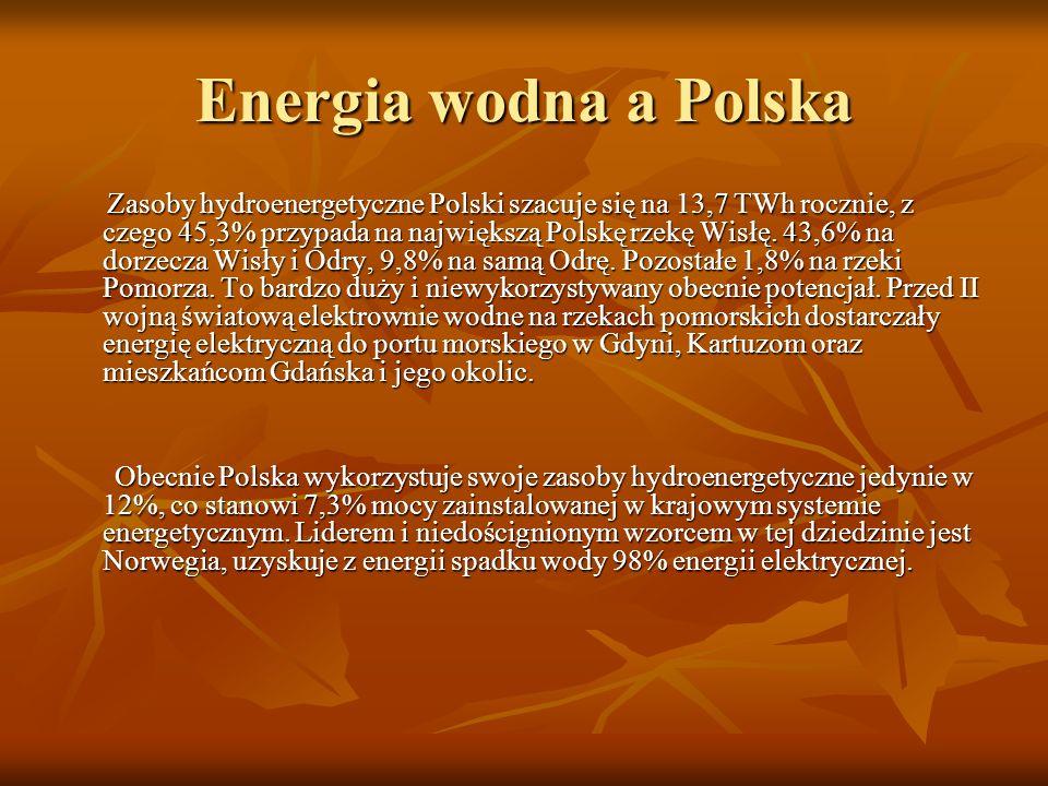 Energia wodna a Polska Zasoby hydroenergetyczne Polski szacuje się na 13,7 TWh rocznie, z czego 45,3% przypada na największą Polskę rzekę Wisłę.