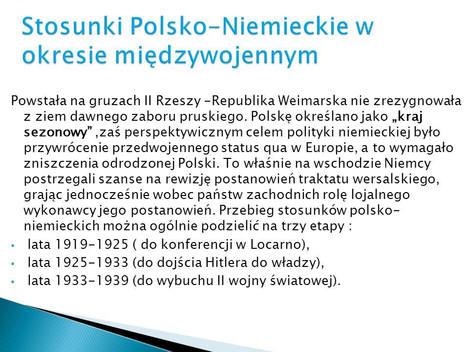 Powstała na gruzach II Rzeszy -Republika Weimarska nie zrezygnowała z ziem dawnego zaboru pruskiego. Polskę określano jako kraj sezonowy,zaś perspekty