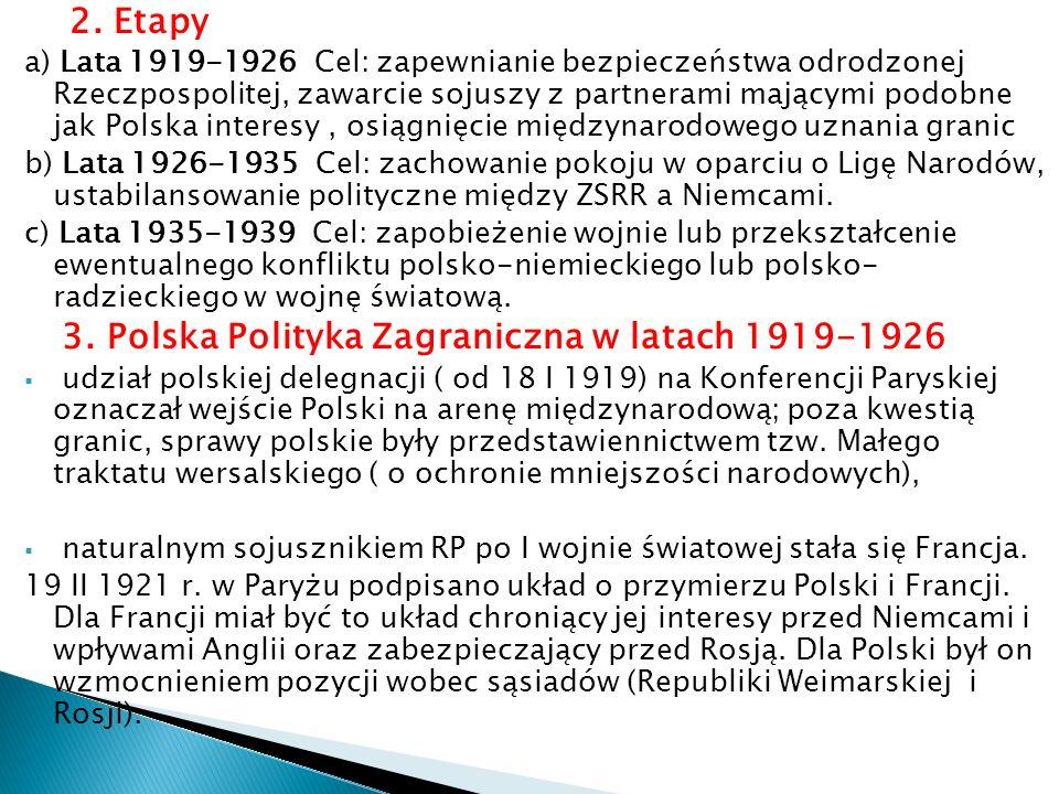 2. Etapy a) Lata 1919-1926 Cel: zapewnianie bezpieczeństwa odrodzonej Rzeczpospolitej, zawarcie sojuszy z partnerami mającymi podobne jak Polska inter