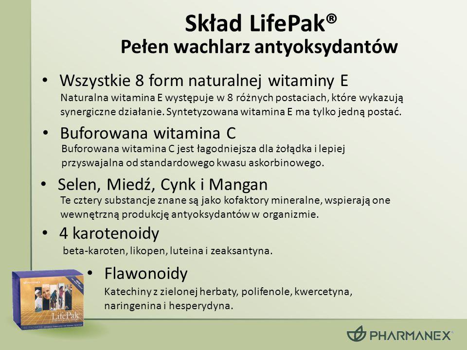 Skład LifePak® Flawonoidy Pełen wachlarz antyoksydantów Naturalna witamina E występuje w 8 różnych postaciach, które wykazują synergiczne działanie.