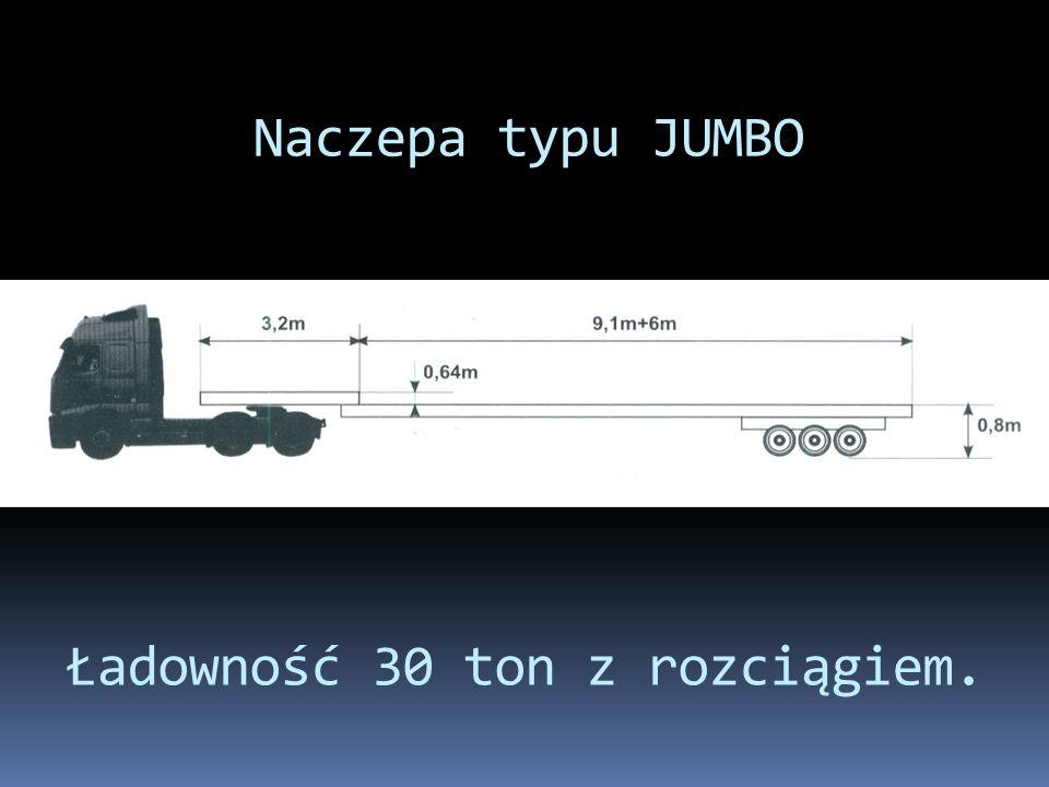 Naczepa typu JUMBO Ładowność 30 ton z rozciągiem.