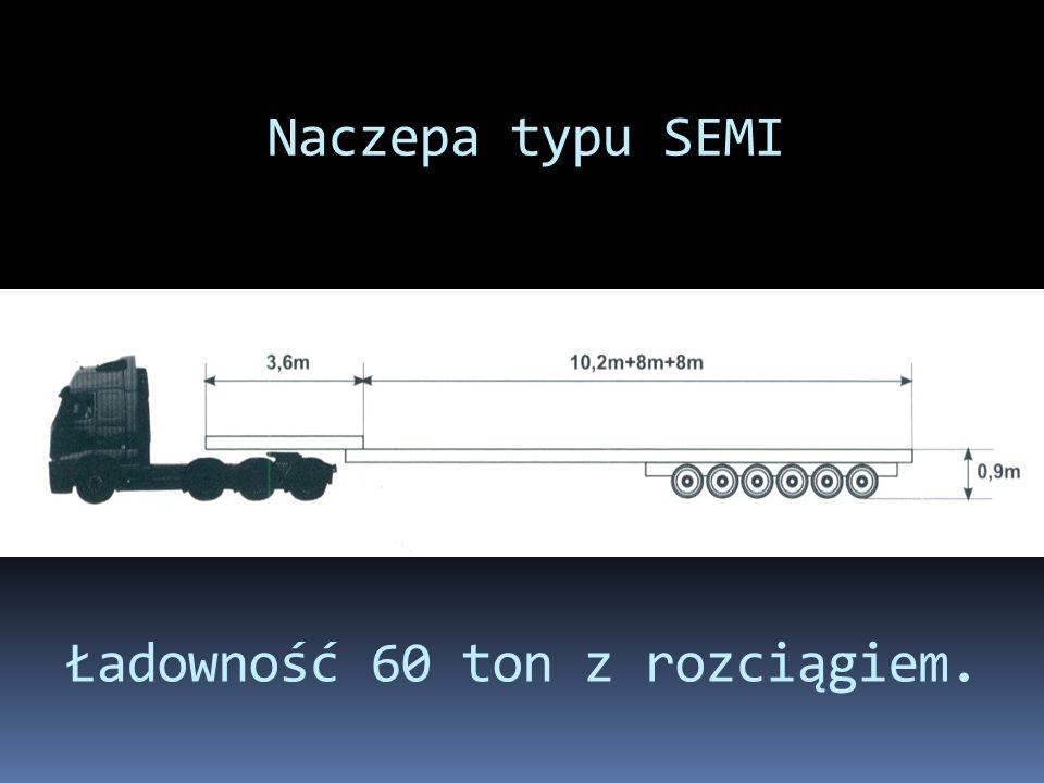 Naczepa typu SEMI Ładowność 60 ton z rozciągiem.