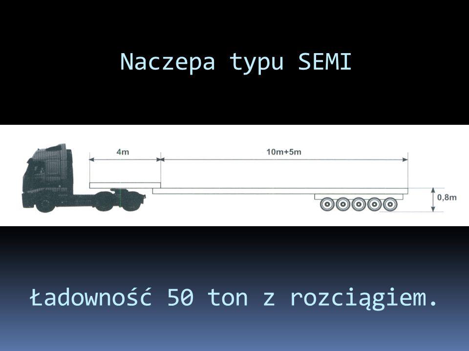 Naczepa typu SEMI Ładowność 50 ton z rozciągiem.