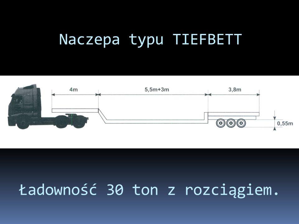 Naczepa typu TIEFBETT Ładowność 30 ton z rozciągiem.