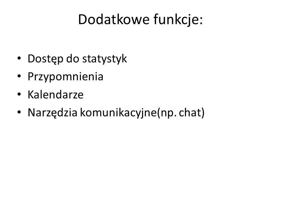Dodatkowe funkcje: Dostęp do statystyk Przypomnienia Kalendarze Narzędzia komunikacyjne(np. chat)